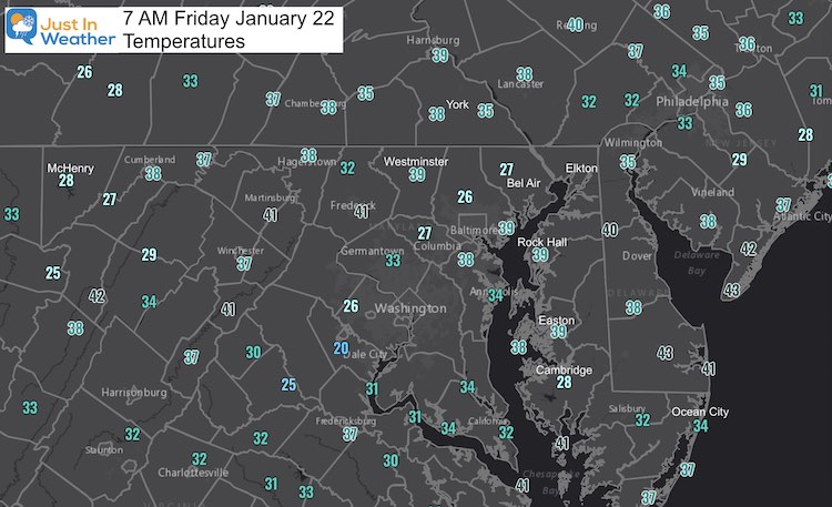 January 22 Weather Temperatures Friday Morning