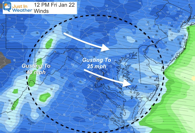 January 22 Weather Winds Friday
