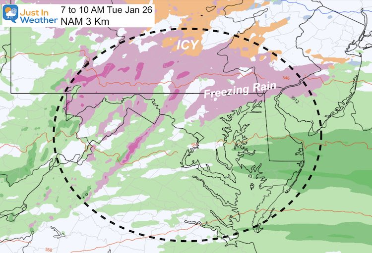 January 24 weather ice storm Tuesday 10 AM