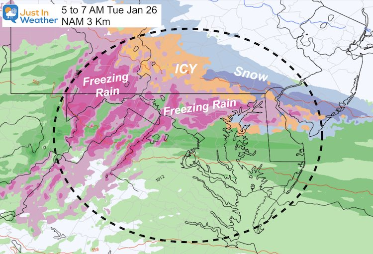 January 24 weather ice storm Tuesday 7 AM