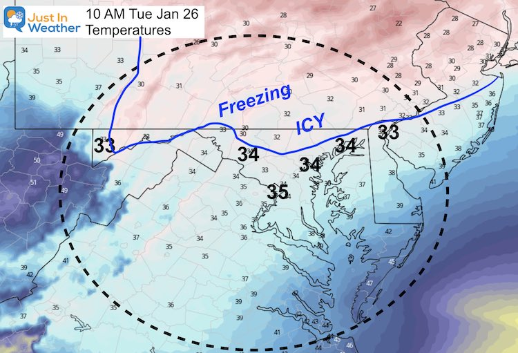 January 24 weather ice storm temperatures Tuesday 10 AM