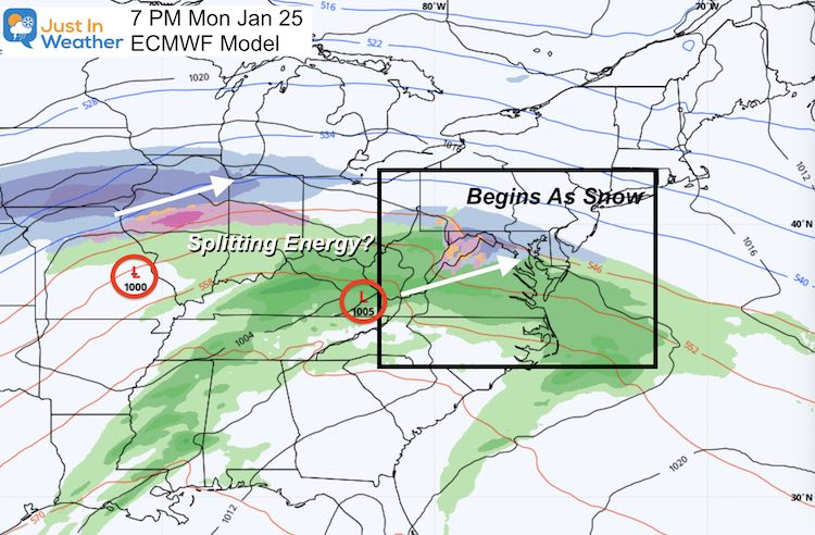 January 24 weather snow storm Monday Euro