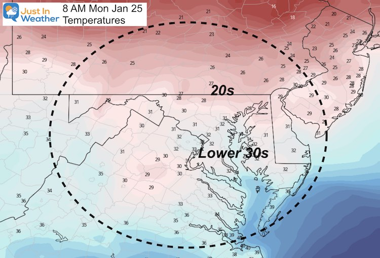 January 24 weather temperatures Monday morning