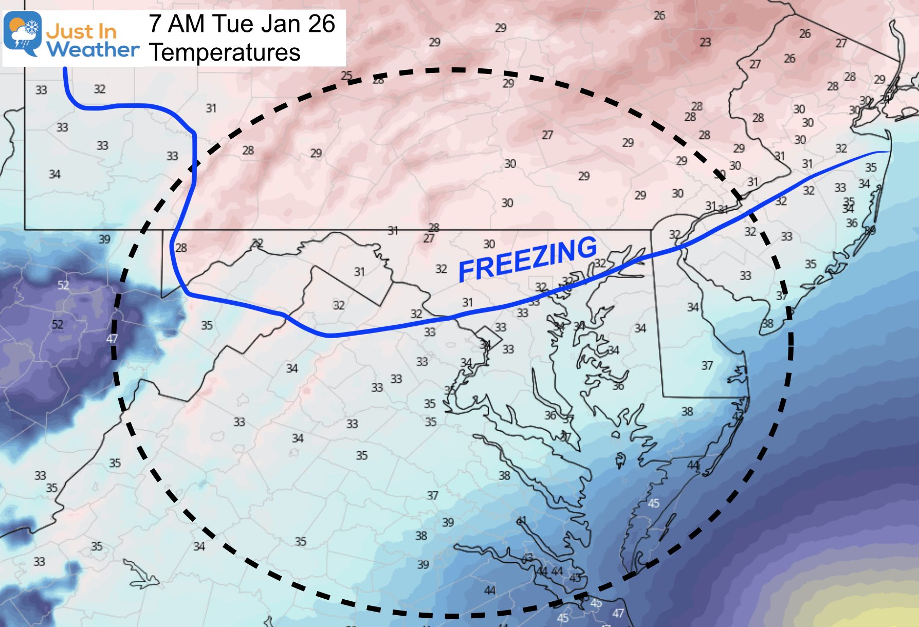 January 25 Temperatures Tuesday 7 AM