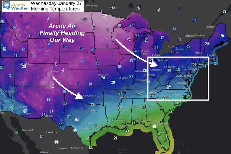 January 27 weather morning temperatures