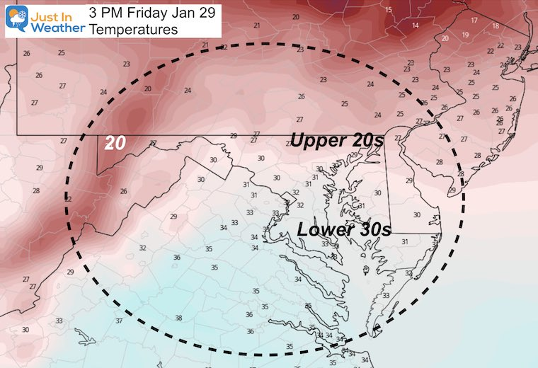 January 28 weather forecast temperature Friday afternoon