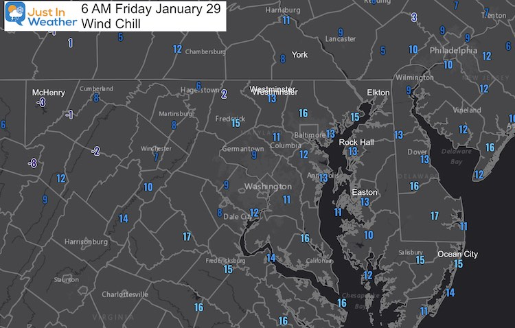 January 29 weather Friday morning wind chill