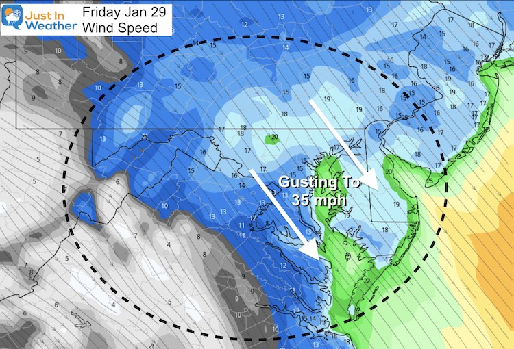 January 29 weather Friday wind speed