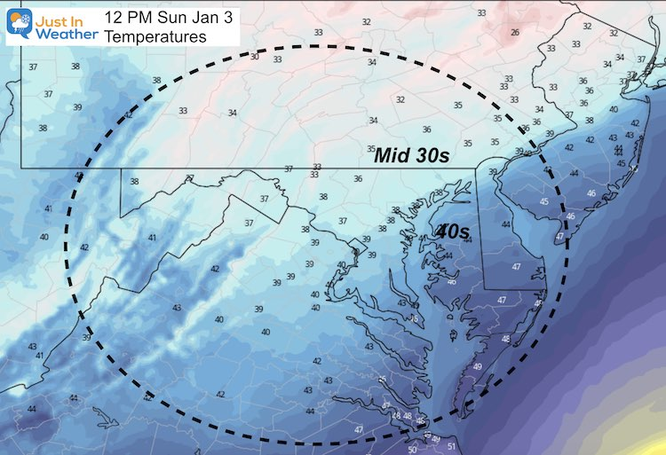 January 3 weather temperature Sunday noon