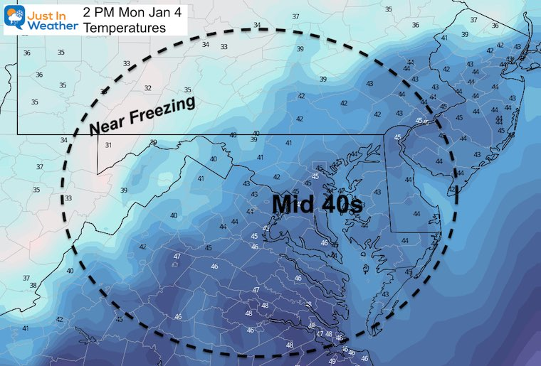 January 4 weather temperatures Monday afternoon