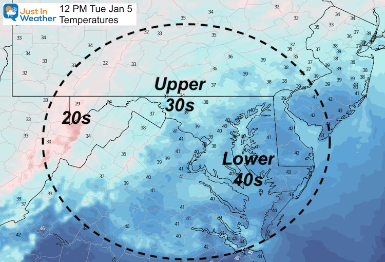 January 4 weather temperatures Tuesday 12 PM