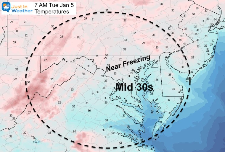 January 4 weather temperatures Tuesday morning