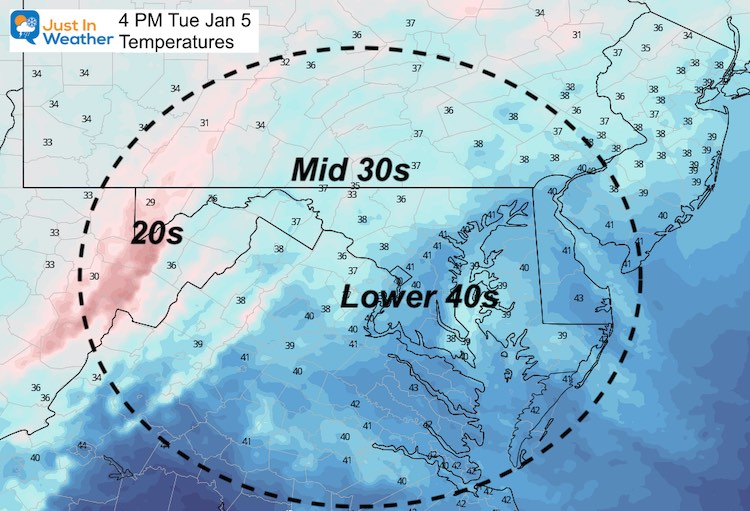 January 5 weather Tuesday high temperatures