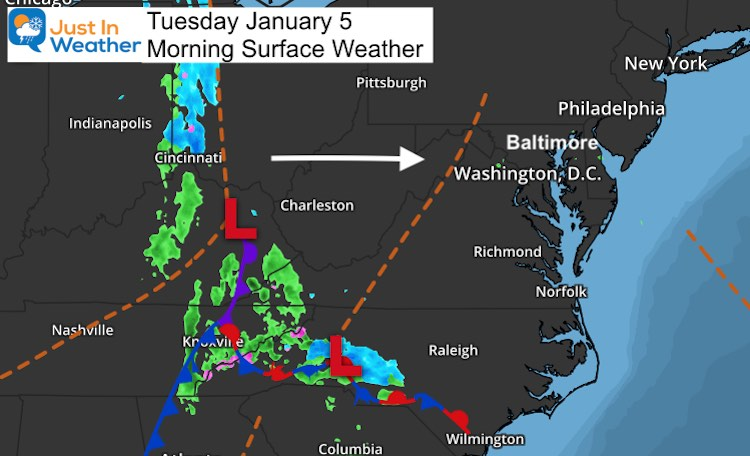 January 5 weather Tuesday morning