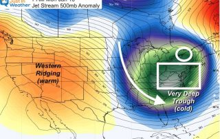 January 5 weather jet stream deep trough Monday Jan 18