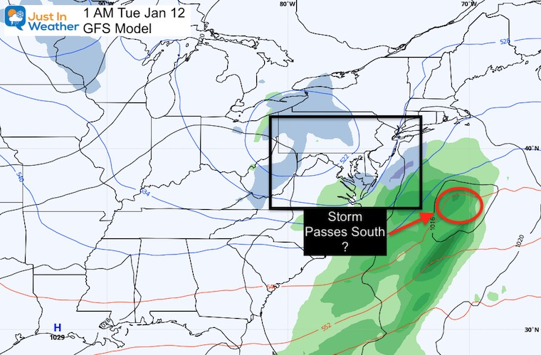 January 6 weather storm Tuesday GFS