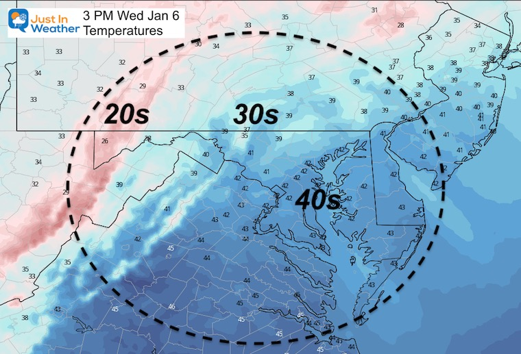 January 6 weather temperatures Wednesday