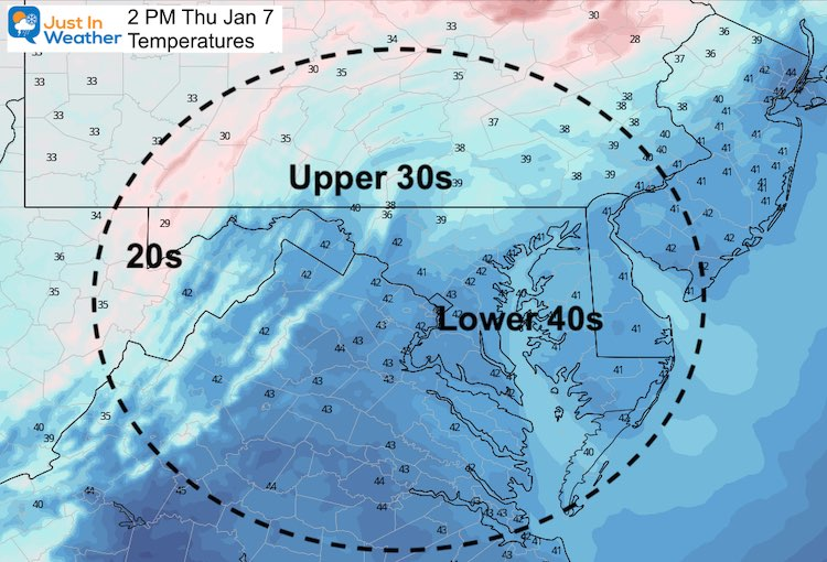 January 7 weather temperatures Thursday afternoon