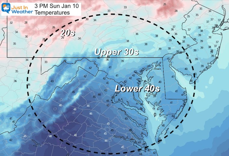 January 9 weather high temperatures Sunday
