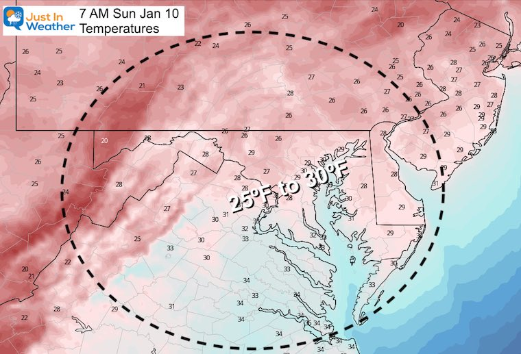 January 9 weather low temperatures Sunday