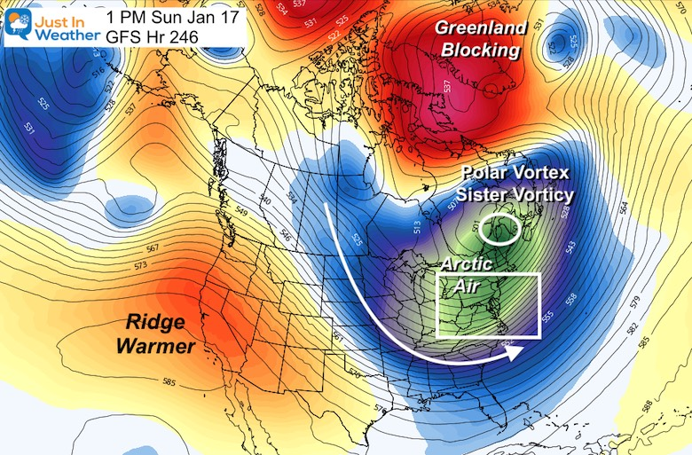 Polar Vortex jet stream January 17 Forecast Hour 246