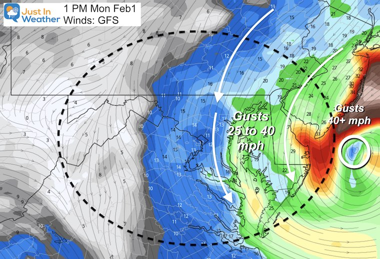 February 1 storm WINDS Monday afternoon