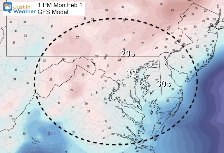 February 1 storm temperatures Monday afternoon