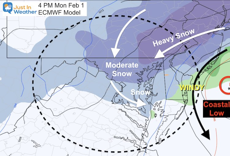 February 1 weather snow storm Monday 4 PM ECMWF