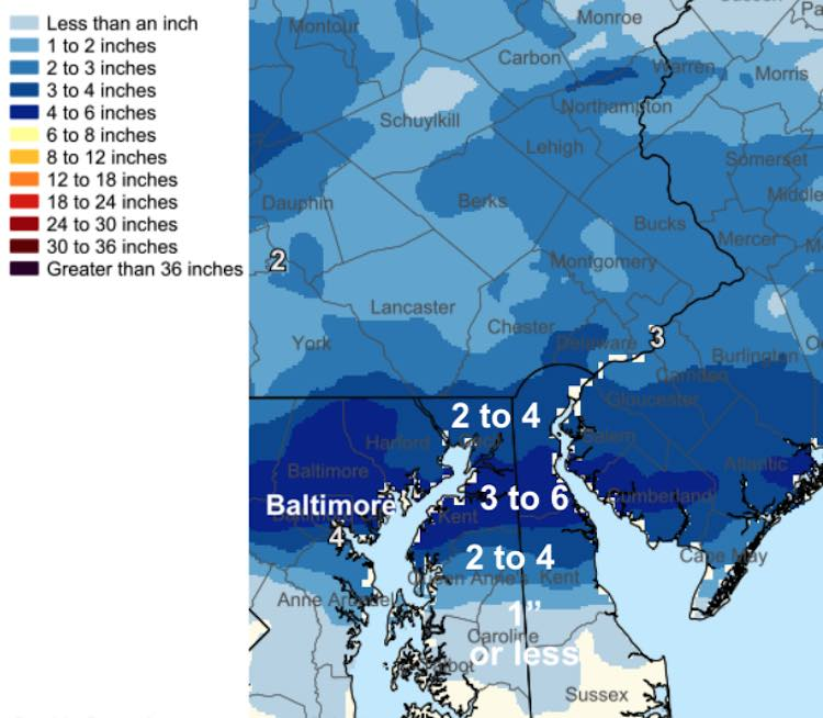 February 11 Snow Spotter Reports Maryland Delmarva