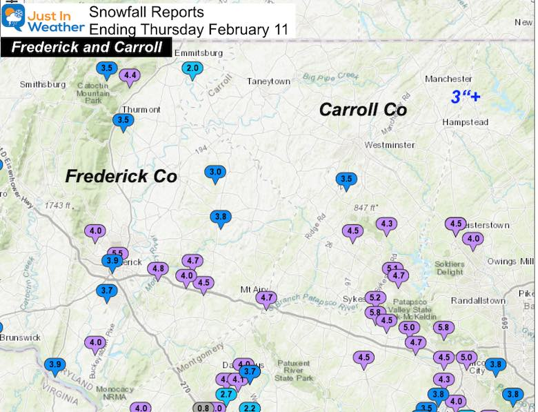 February 11 Snow Spotter Reports Maryland Frederick Carroll