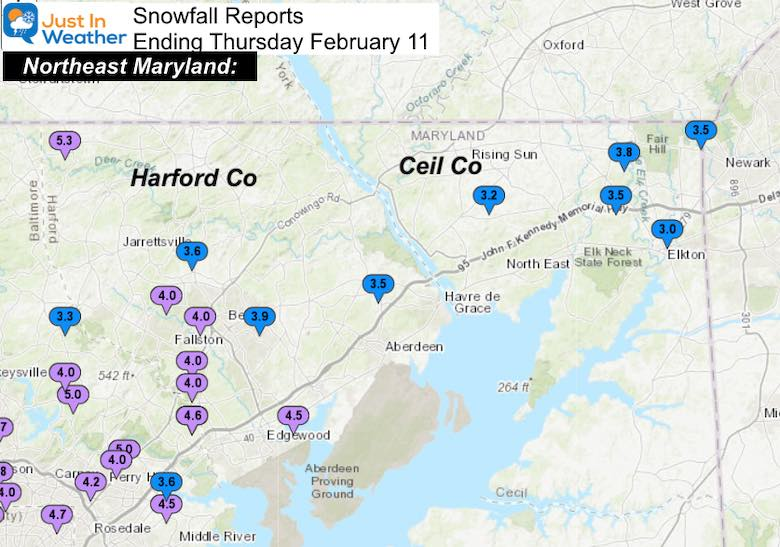 February 11 Snow Spotter Reports Maryland Northeast
