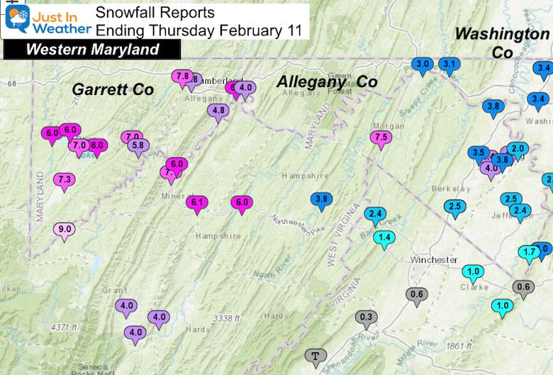 February 11 Snow Spotter Reports Maryland Western