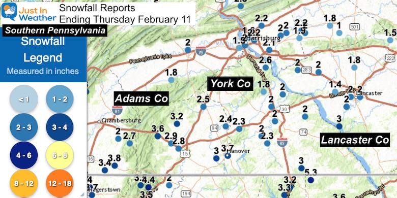 February 11 Snow Spotter Reports Southern Pennsylvania