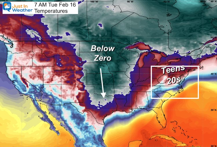 February 11 weather Tuesday Temperatures USA