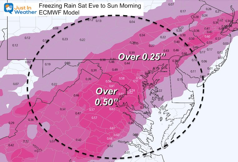 February 11 weather ice storm Sunday total
