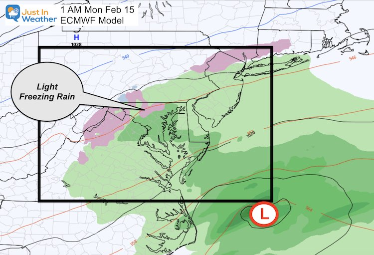 February 14 weather Monday early ice