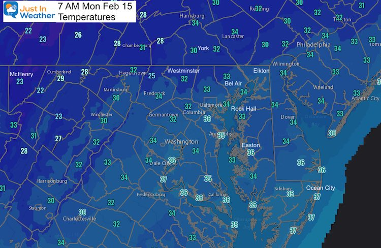February 15 Monday morning temperatures