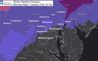 February 15 Monday winter weather advisory