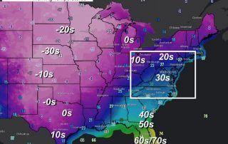February 15 weather Monday morning temperatures
