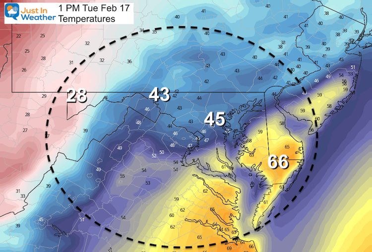 February 15 weather Tuesday afternoon temperatures