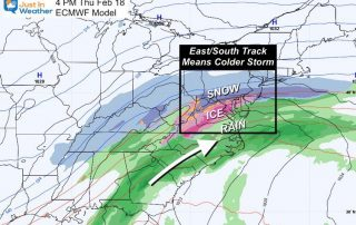 February 15 weather snow ice storm ECWMF Thursday afternoon New Track