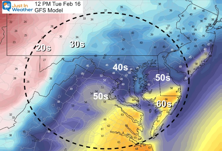 February 15 weather temperatures Tuesday Afternoon