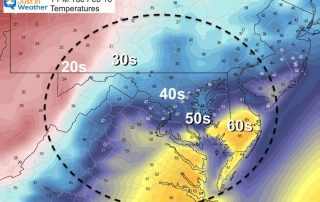February 16 weather temperature Tuesday afternoon