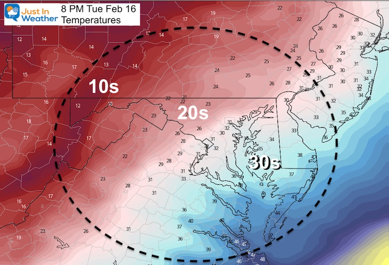 February 16 weather temperature Tuesday evening