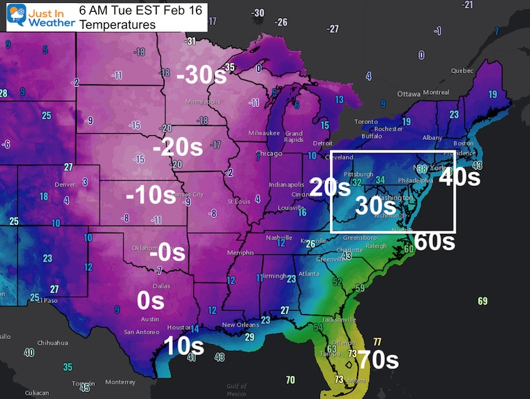 February 16 weather temperature US Tuesday Morning