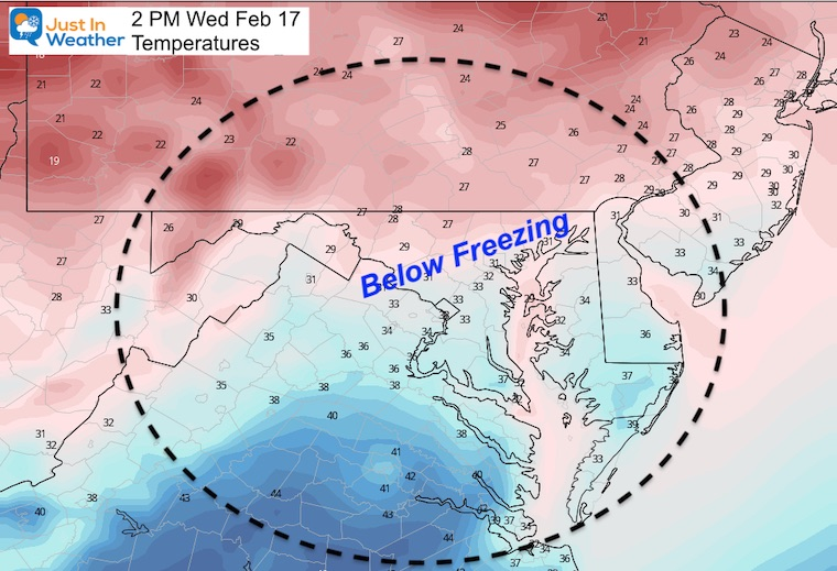 February 16 weather temperature Wednesday afternoon