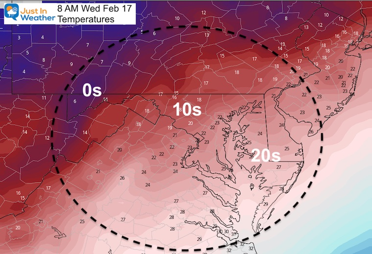 February 16 weather temperature Wednesday morning