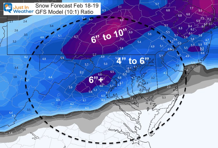 February 17 weather snow Friday GFS