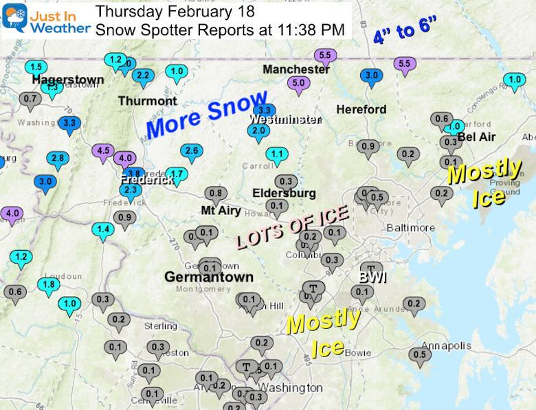 February 18 snow ice reports morning