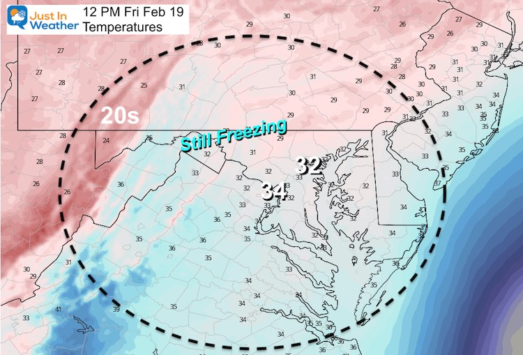 February 19 weather temperature Friday 12 PM